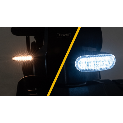 LED Head Lights of a Pride Victory LX Sport 4 Wheel Mobility Scooter