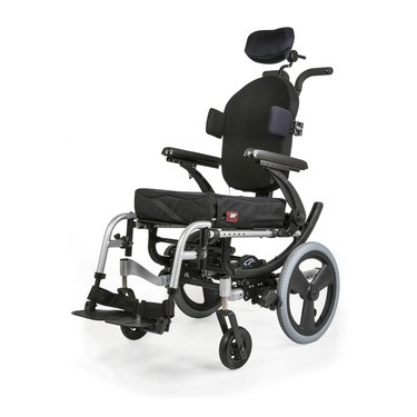 Side view of Quickie Iris Tilt-in-Space Manual Wheelchair
