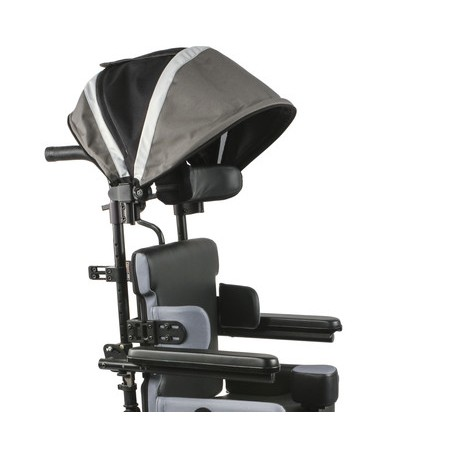 Side view of Quickie Iris Tilt-in-Space Manual Wheelchair With Head Cover
