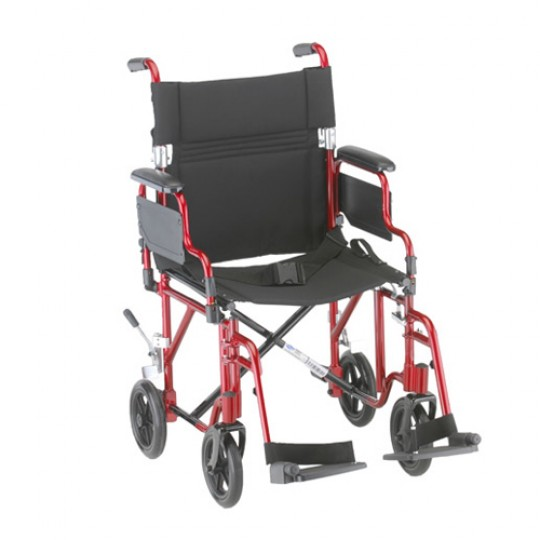 """Red Nova 19"""" Transport Chair with Removable Desk Arms and 2 footrests"""