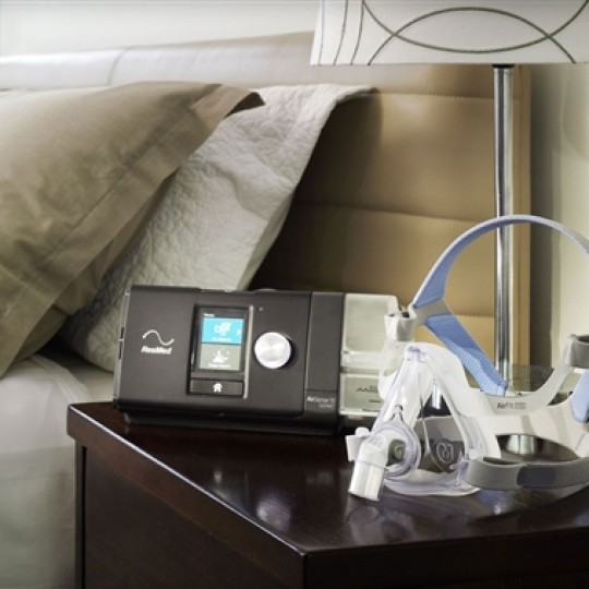 ResMed Airsense 10 CPAP on Bedside table