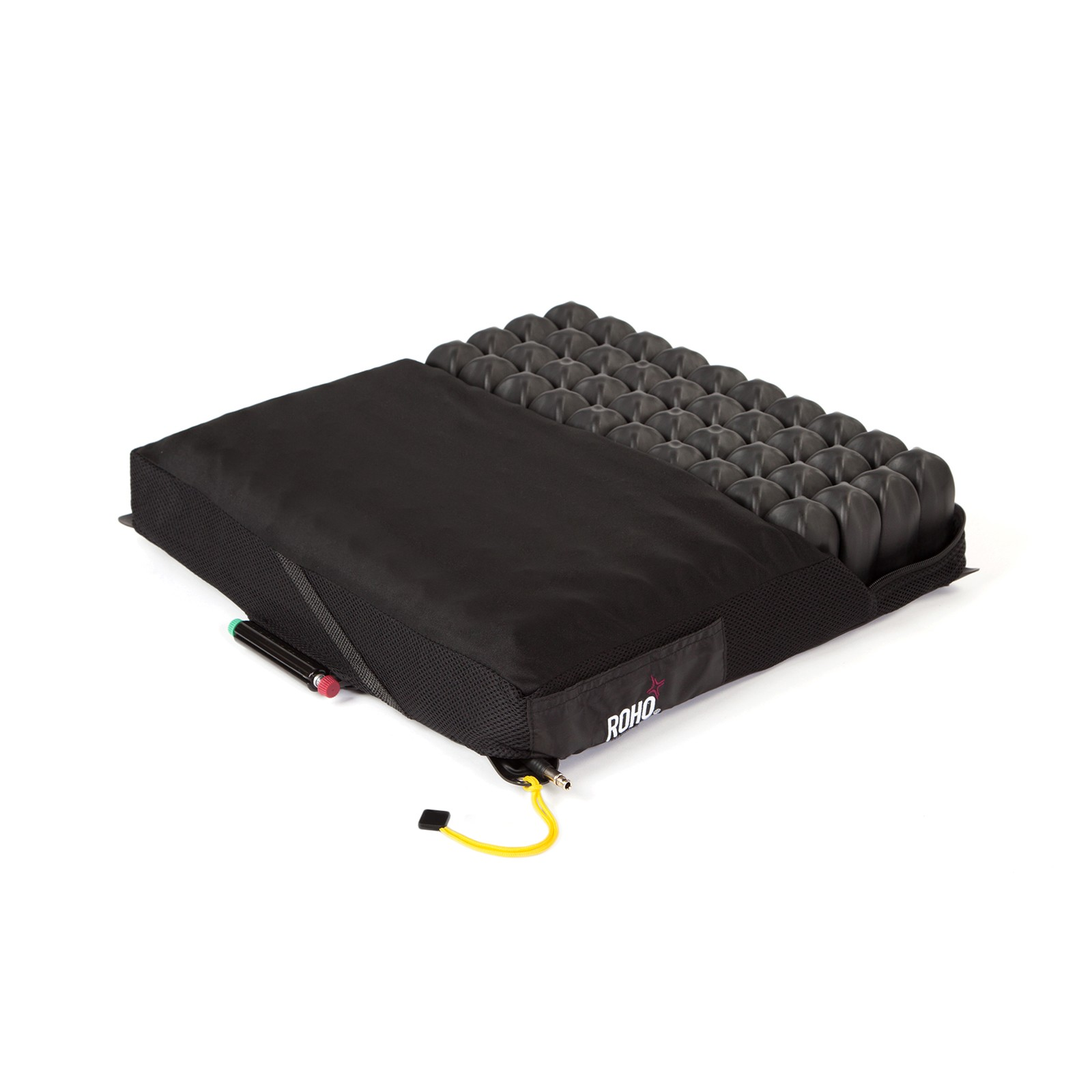 Black ROHO® QUADTRO SELECT® MID PROFILE® Cells in Cushion Cover