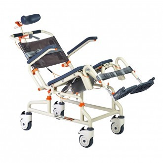 Front View of an elevated SB3T Roll-In Buddy Lightweight Shower Chair