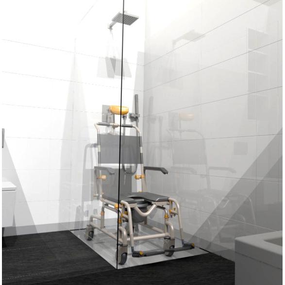 SB3T Roll-In Buddy Lightweight Shower Chair in a shower