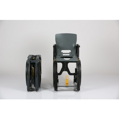 Front view of Seatara WheelAble Folding Commode Shower Wheelchair