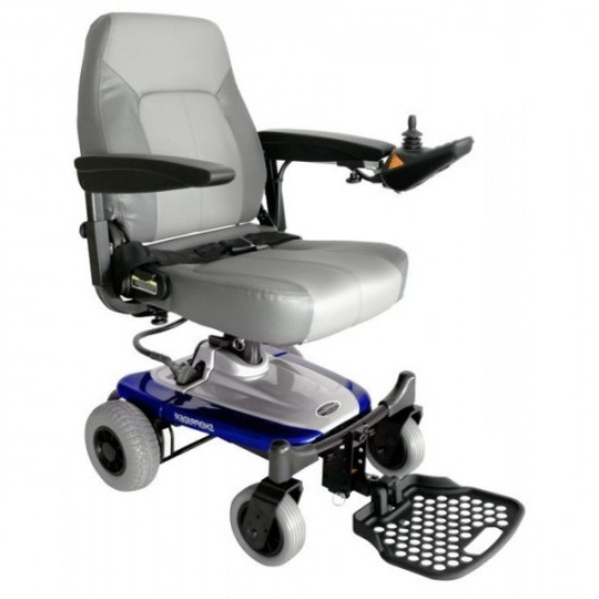 Front View of White Shoprider Smartie Travel Power Wheelchair