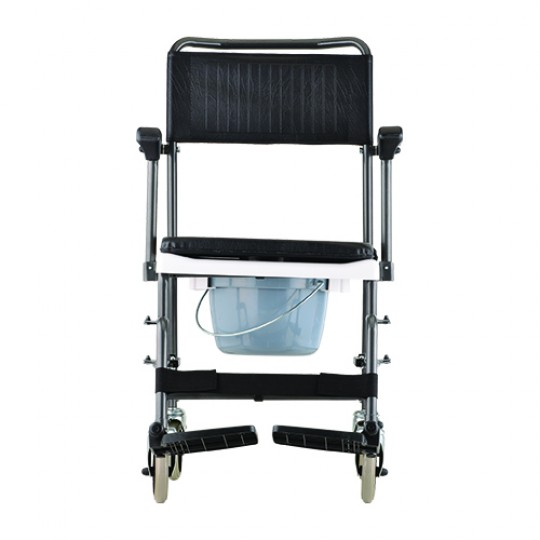 Front View of Black Transport Chair Commode