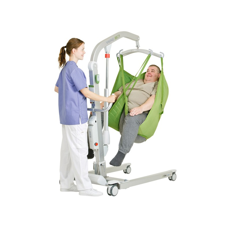 Man sitting on sling of a Liko Viking® L/XL Patient Lift