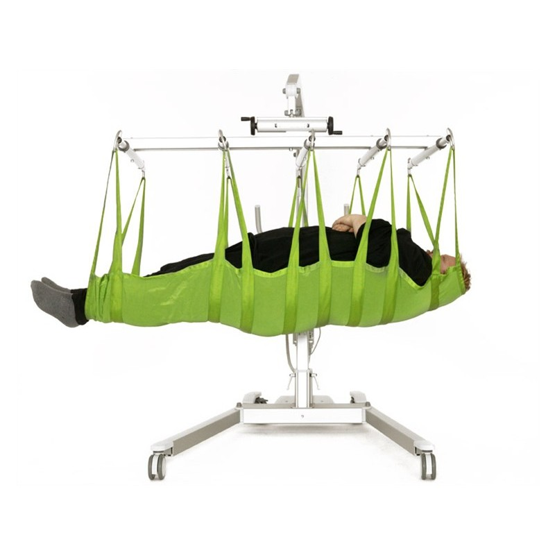 Man laying in sling of a Liko Viking® L/XL Patient Lift
