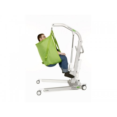 Man sitting on sling of a Liko Viking® L Patient Lift