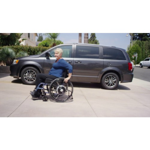 Woman going up hill in Yamaha Navione Power Assist System