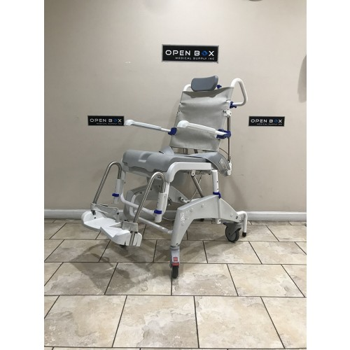 Side view of Aquatec Ocean Dual VIP Tilt Shower Commode Chair