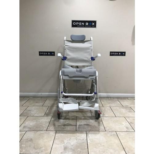 Front view of Aquatec Ocean Dual VIP Tilt Shower Commode Chair