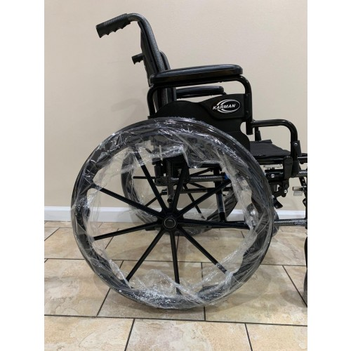 Side view of wheels on Karman LT-700T Folding Manual Wheelchair