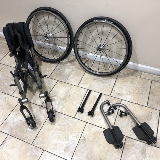Disassembled Parts of Manufacturer Demo TiLite 2GX Folding Ultralight Manual Wheelchair