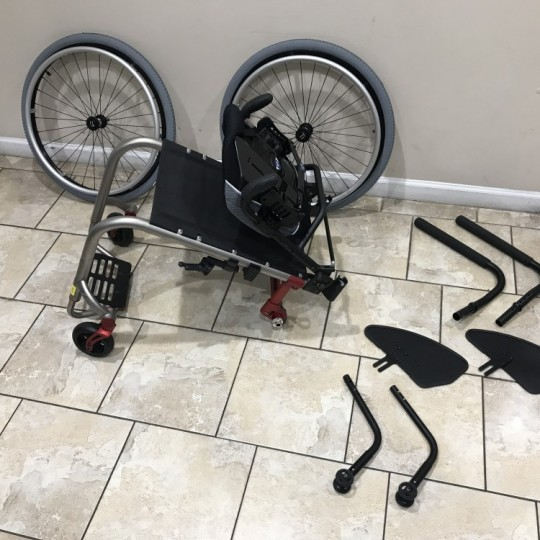 Disassembled Parts of Manufacturer Demo TiLite ZRA Ultralight Titanium Wheelchair