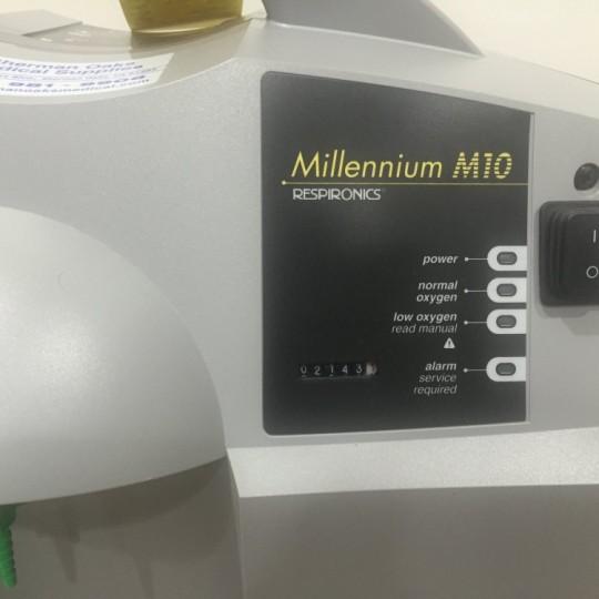 Close up Of Millennium Logo on Used Respironics Millennium M10 Oxygen Concentrator