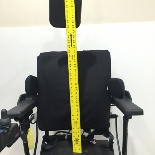 Measurement of Chair of Used Invacare TDX SP Power Wheelchair w/ Power Tilt & Recline