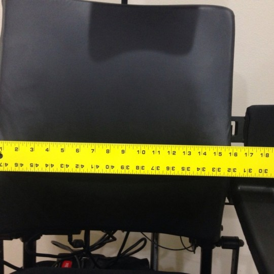 Measurement of Seat of Used Invacare TDX SP Rehab Tilt Power Wheelchair