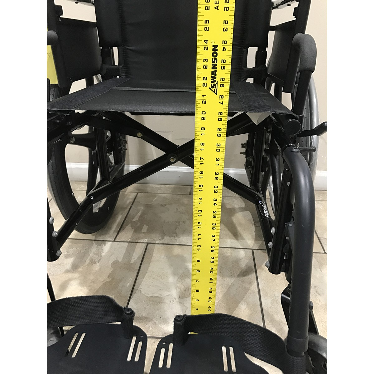 Measurement of Wheelchair to Floor on Used Quickie 2 Folding Lightweight Wheelchair