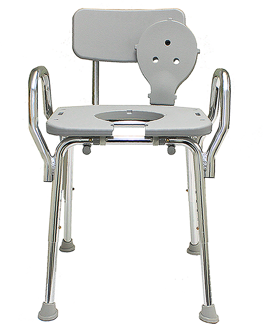 Eagle Health Hip Shower Chair w/ Back, Arms, & Cut-Out Seat
