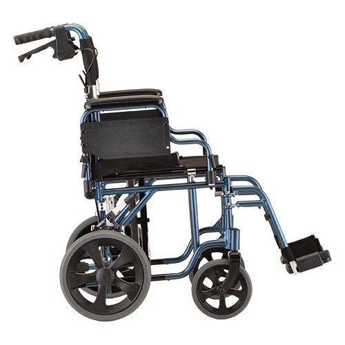 """Side view of Blue Nova 19"""" Transport Chair w/ 12"""" Wheels & Removable Desk Arms"""