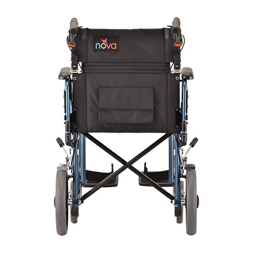 """Back view of Blue Nova 19"""" Transport Chair w/ 12"""" Wheels & Removable Desk Arms"""