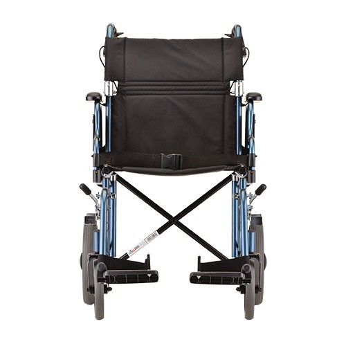 """Front view of Blue Nova 19"""" Transport Chair w/ 12"""" Wheels & Removable Desk Arms"""