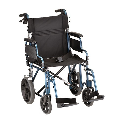 "Blue Nova 19"" Transport Chair w/ 12"" Wheels & Removable Desk Arms"
