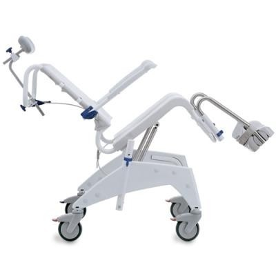 """Side view of Tilted Clarke Healthcare OceanSP Shower Chair with 24"""" Wheels"""