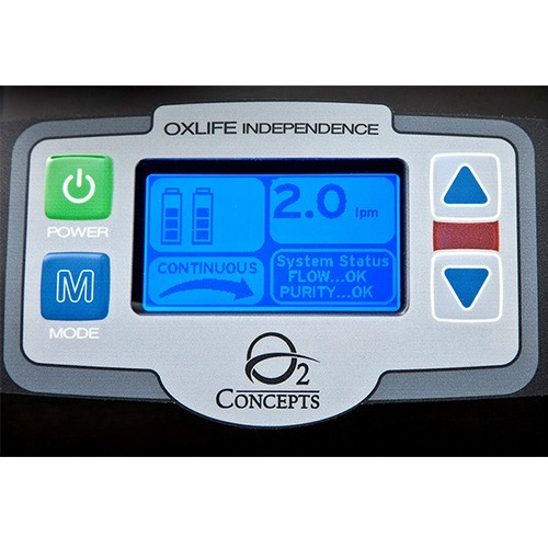 Controls of a 3 Liter Continuous Portable Oxygen Concentrator Rental (6 Liter Pulse)