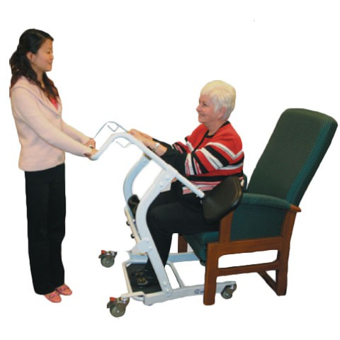 Woman sitting in Bestcare STA400 Standing Transfer Aid