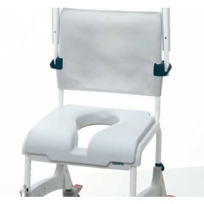 "Backrest and chair of Clarke Healthcare Ocean Shower Chair with 5"" Casters"