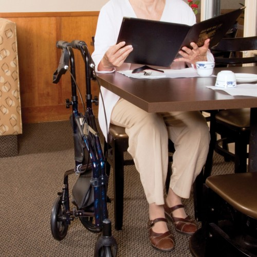 Carex Trio Rolling Walker folded Next to a Woman sitting at a Table