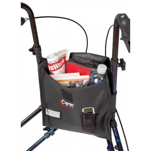 Carex Trio Rolling Walker with Items in the Pouch