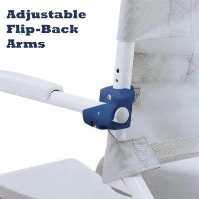 """Adjustable Flip Back Arms of a Clarke Healthcare OceanSP Shower Chair with 24"""" Wheels"""