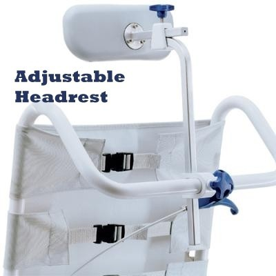 "Adjustable Headrest of Clarke Healthcare OceanSP Shower Chair with 24"" Wheels"