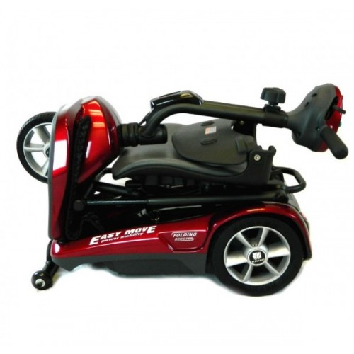Folded Red EV Rider Transport Automatic Folding Scooter