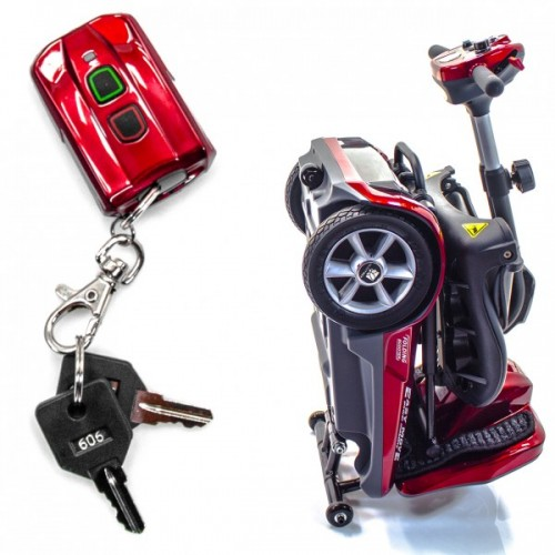 Folded Red EV Rider Transport Automatic Folding Scooter and Keys
