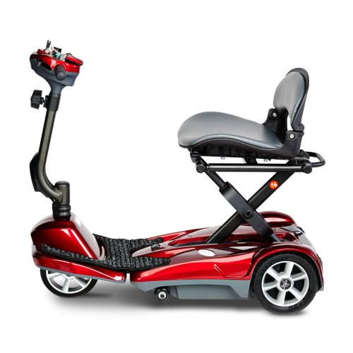 Side view of Red EV Rider Transport Automatic Folding Scooter