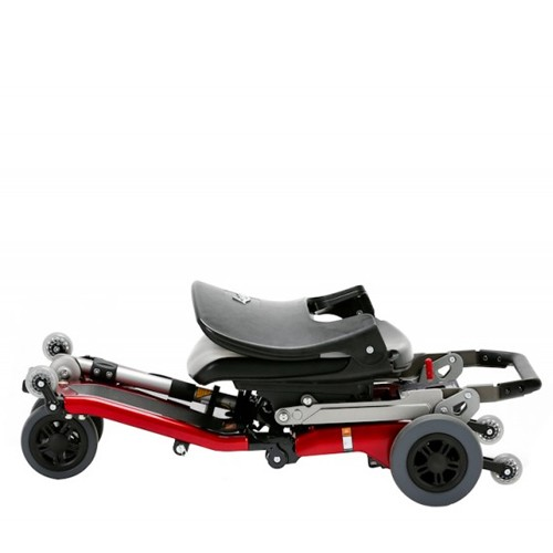 Folded Red FreeRider Luggie Classic Folding Mobility Scooter
