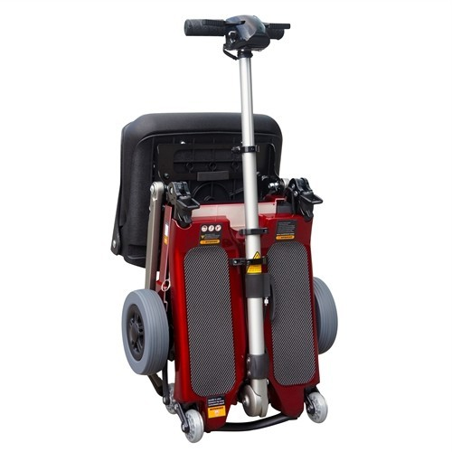 Folded Red FreeRider Luggie Elite Folding Mobility Scooter