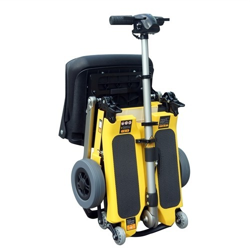 Folded Yellow FreeRider Luggie Elite Folding Mobility Scooter