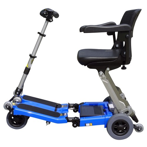 Side view of Blue FreeRider Luggie Standard Folding Mobility Scooter
