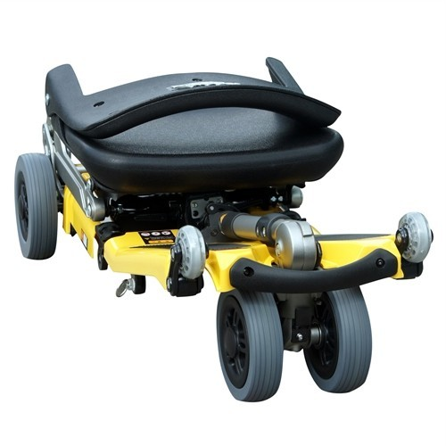 Folded Yellow FreeRider Luggie Standard Folding Mobility Scooter