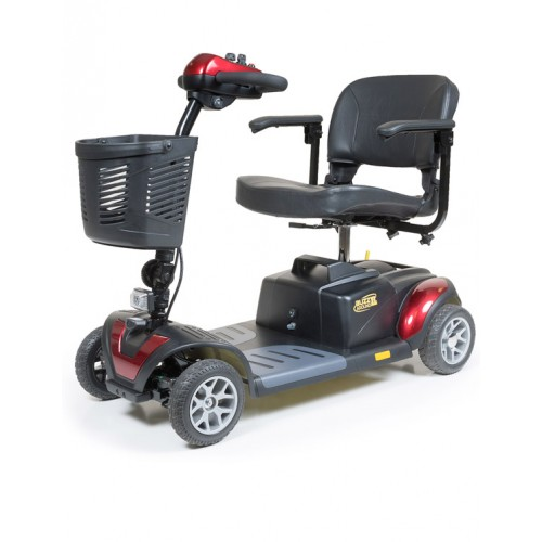 Side view of Red Golden Tech Buzzaround XL 4-Wheel Mobility Scooter