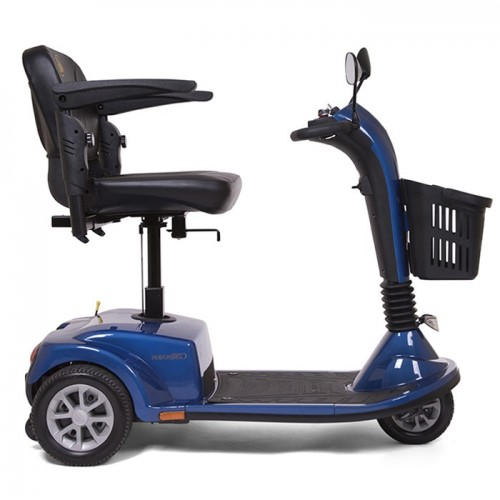 Side view of Blue with Elevated Seat on Golden Tech Companion 3 Wheel Mobility Scooter