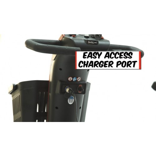 Easy Access Charger Port on Golden Tech Companion 3 Wheel Mobility Scooter