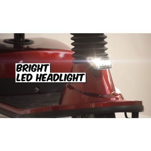 Bright LED Headlight on Golden Tech Companion 3 Wheel Mobility Scooter