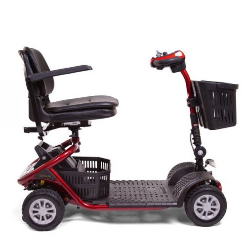 Side view of Red Golden Tech Literider 4-Wheel Mobility Scooter
